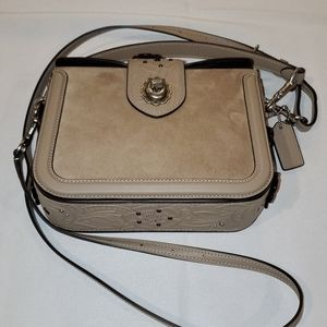 Coach Tan Leather and Suede Cross Body Purse